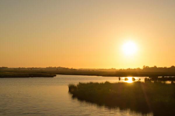 Sunny sunset at the lake photo