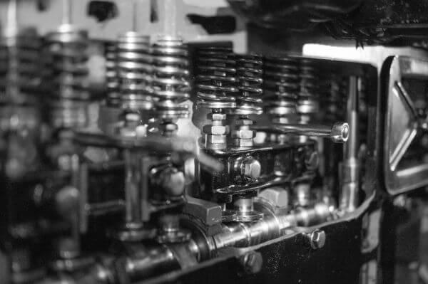 Car engine B&W photo