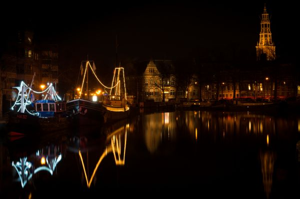 Groningen city at night photo