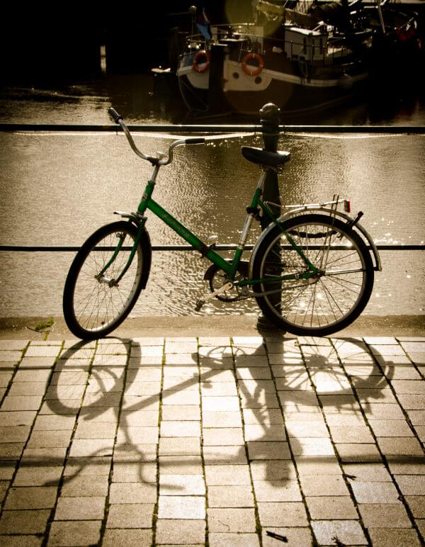 Parked bicycle photo