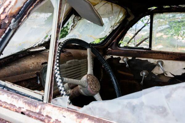 Car wreck wheel photo
