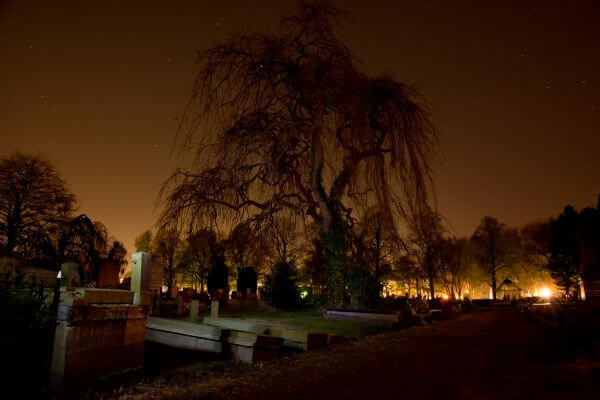 Midnight graveyard photo