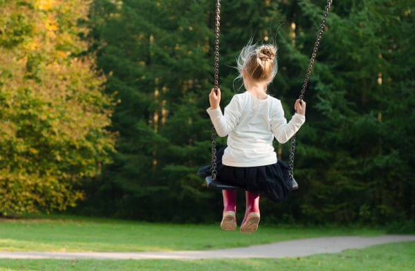 Girl on a swing photo