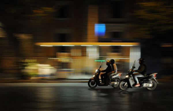 Scooters in the night photo