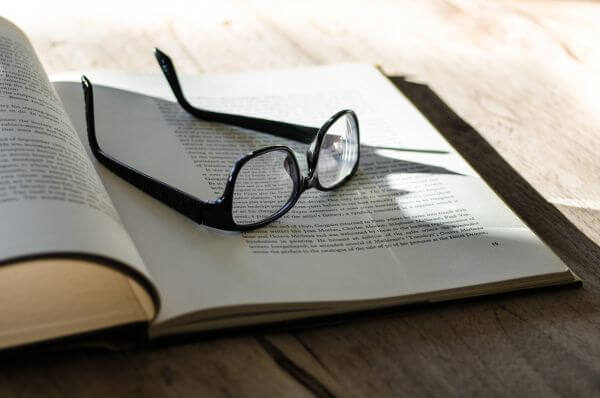Glasses and a book photo