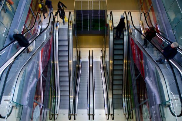 People on an escalator photo