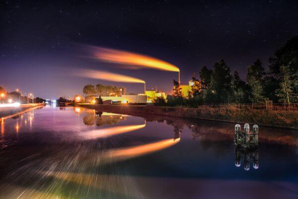 Factory at night photo