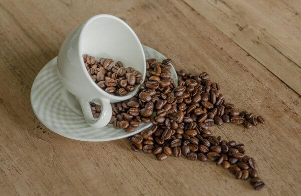Coffee beans and a cup photo
