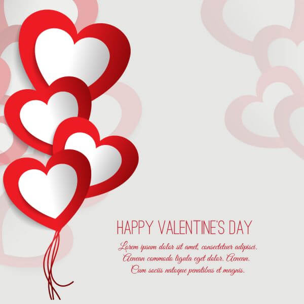 Valentine's day vector illustration with paper hearts vector