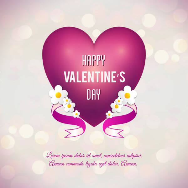 Valentine's day vector illustration with heart, flowers and ribbon vector