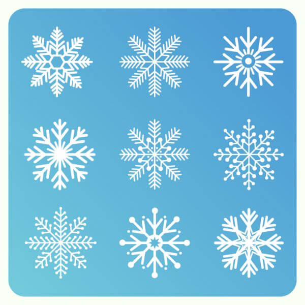 Christmas background with set of snowflakes vector