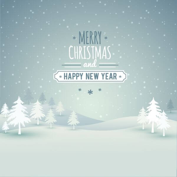Christmas landscape with typography vector