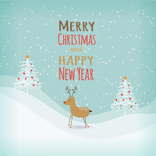 Christmas background with typography and ren deer vector