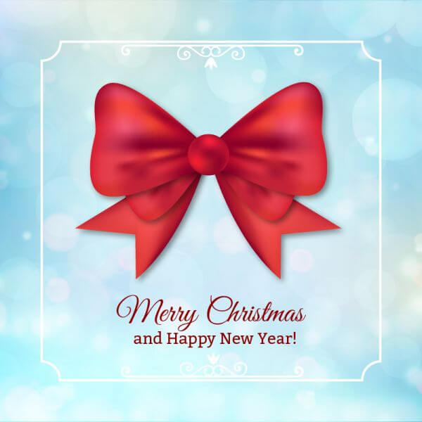 Christmas background with typography and bow vector