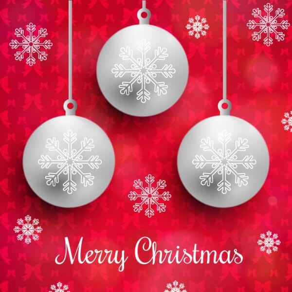 Christmas background with typography and globes vector
