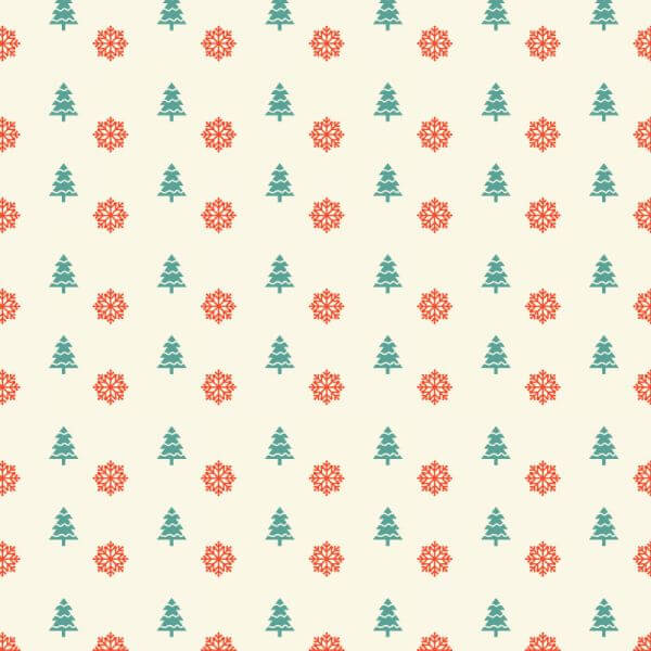 Christmas pattern with snowflakes and christmas tree vector