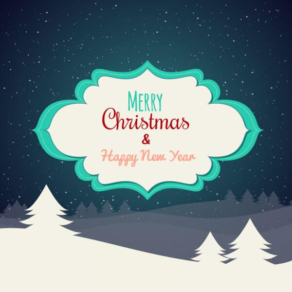 Christmas background with typography and label vector