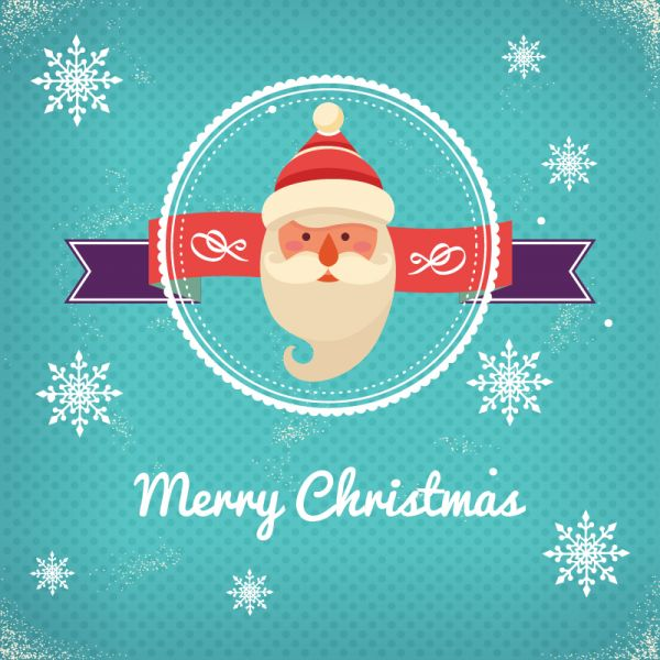 Christmas background with typography and badge and santa vector