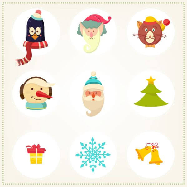 Christmas background with christmas icons vector