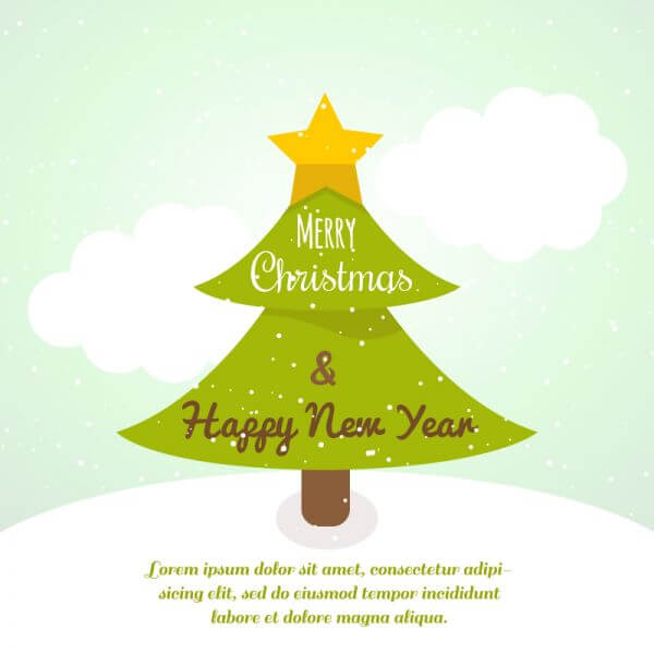 Christmas background with typography and christmas tree vector