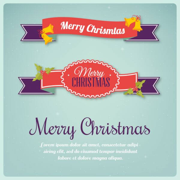 Christmas background with typography and ribbons vector