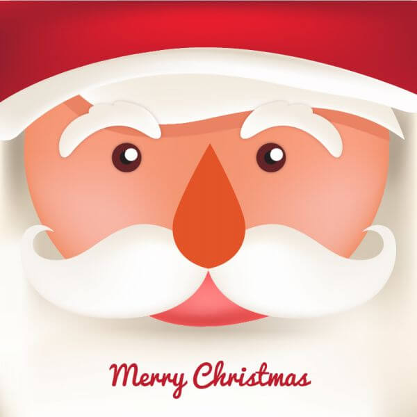 Christmas background with typography and santa vector
