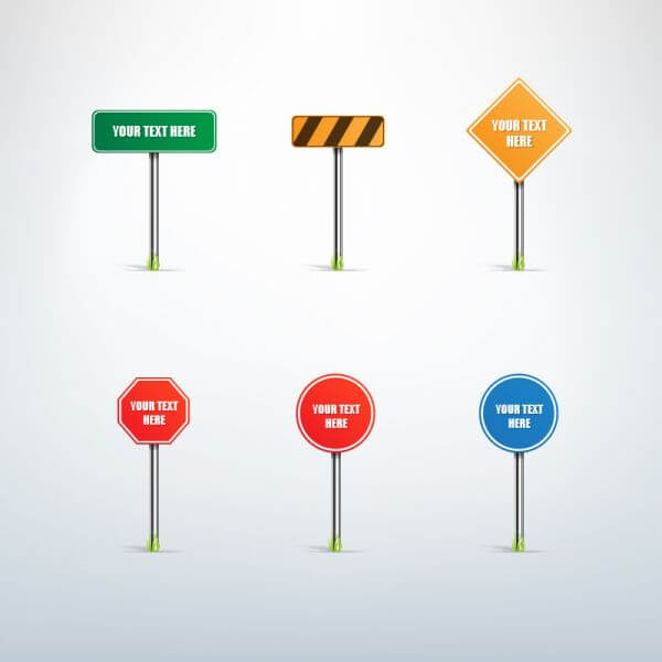 Traffic sign vector set vector