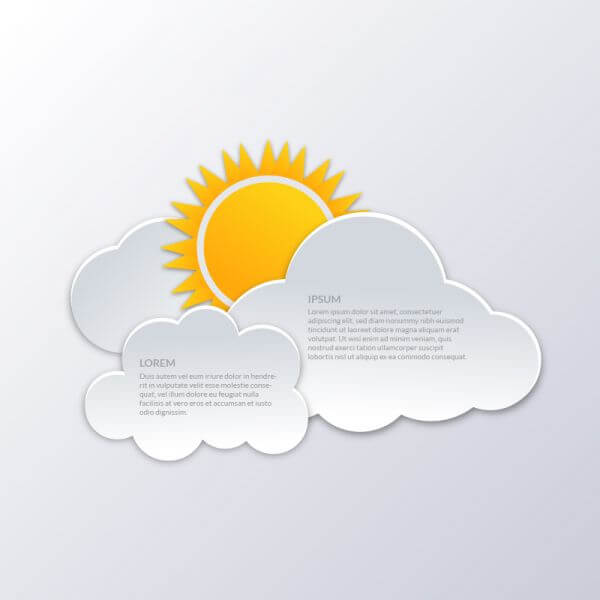 Clouds with sun illustration vector