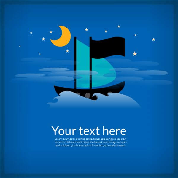 Sailing cartoon boat illustration vector