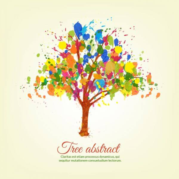 Colorful splashes tree vector