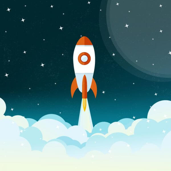 Space rocket flying illustration vector