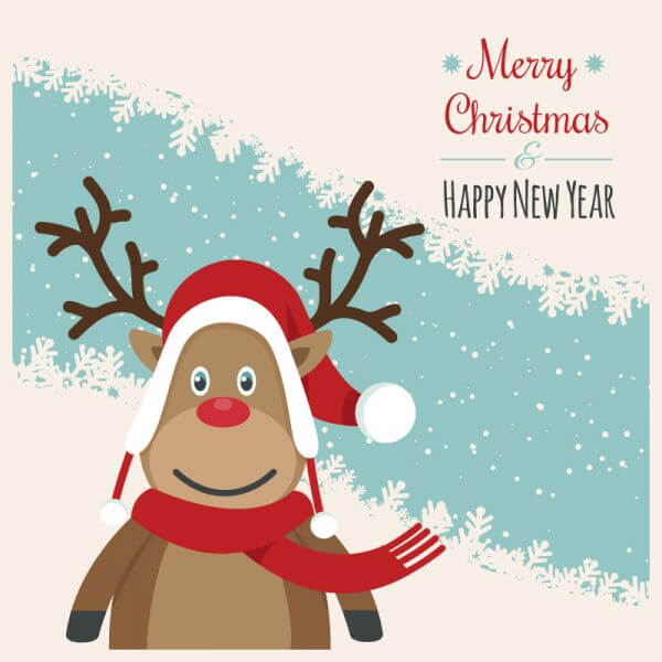 Christmas illustration with rendeer vector