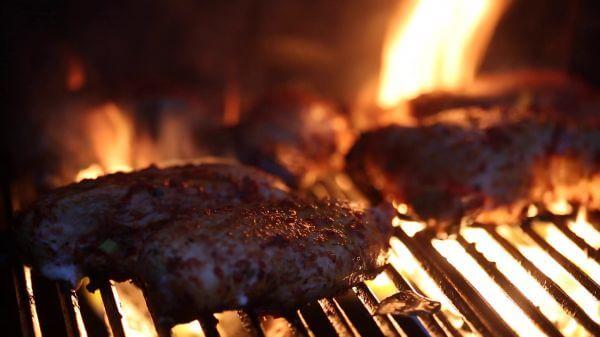 BBQ Flames Through Chicken video