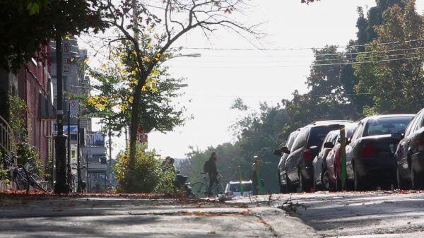 Bike track on peaceful street video
