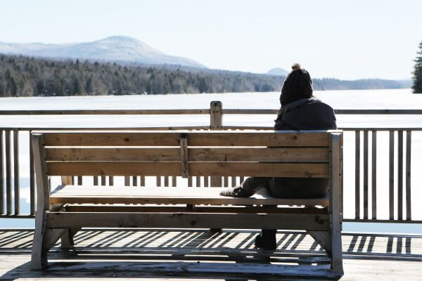 Woman on Bench photo