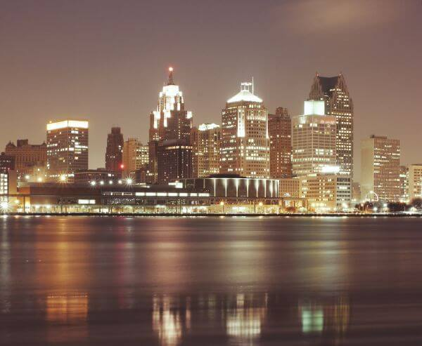 Detroit by night photo