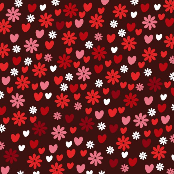 Love pattern with hearts and flowers vector