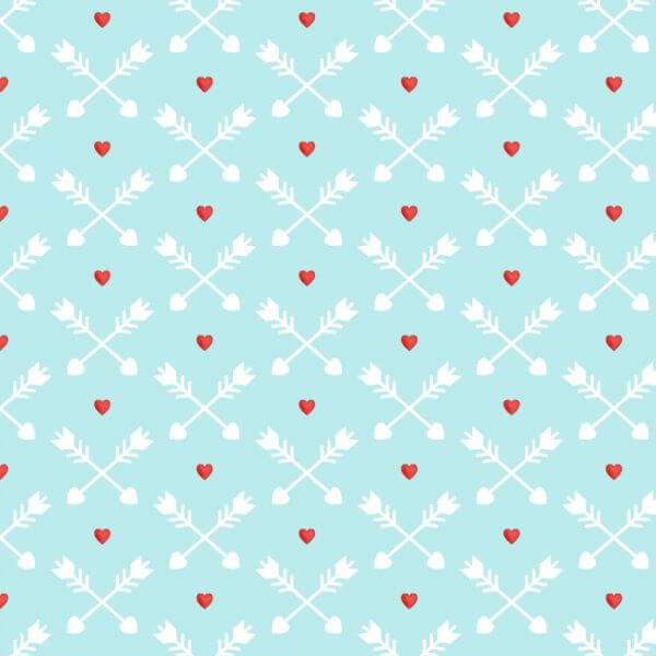 Love pattern with red hearts and arrows vector