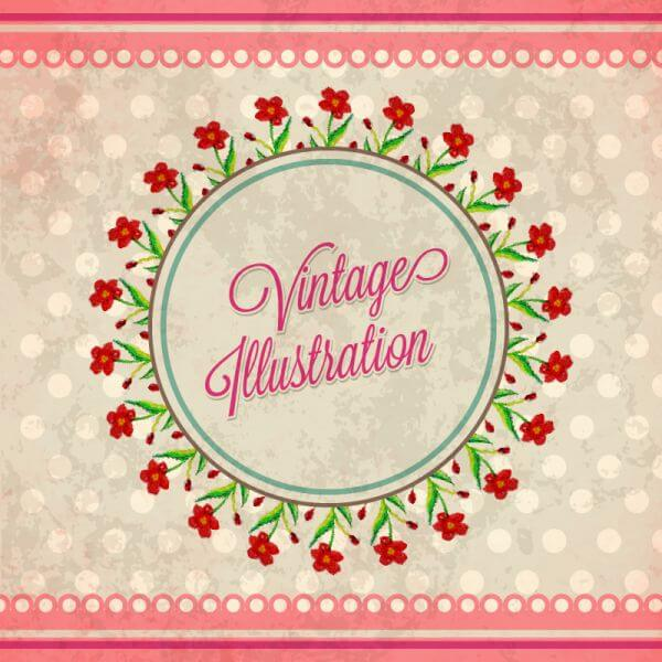 Vintage flower illustration with badge vector