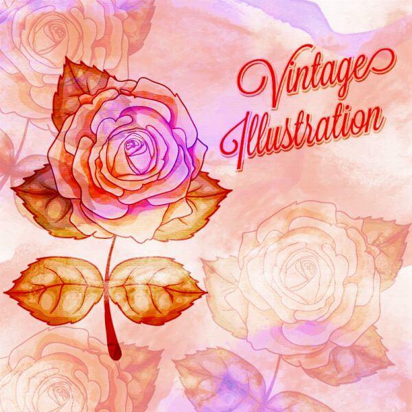 Vintage flower illustration vector