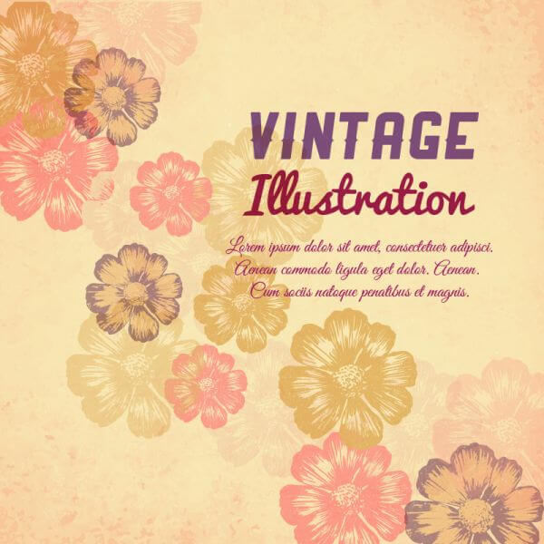 Vintage flower illustration vector