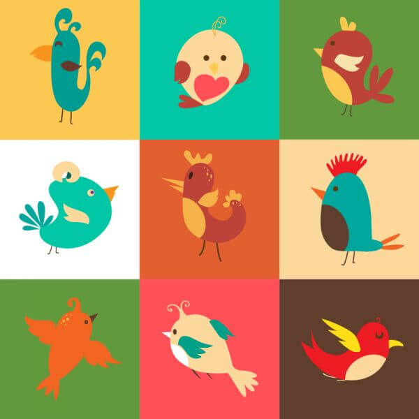 Cartoon vector set with birds vector