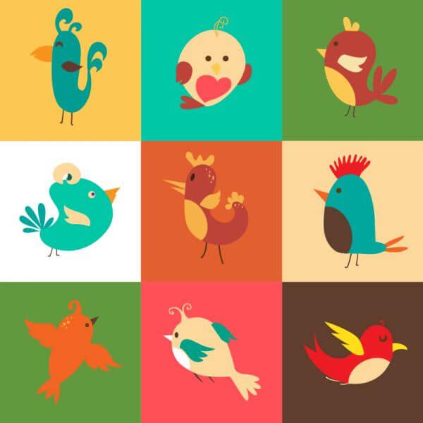 Cartoon vector set with birds vector