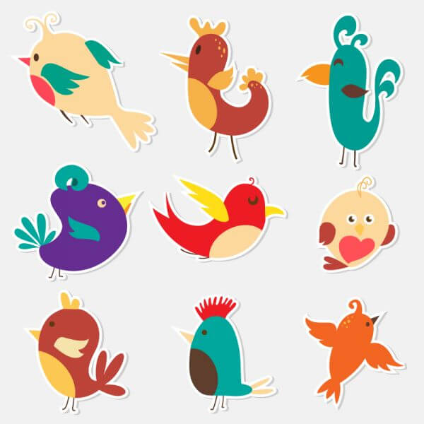 Cute sticker birds vector set  vector