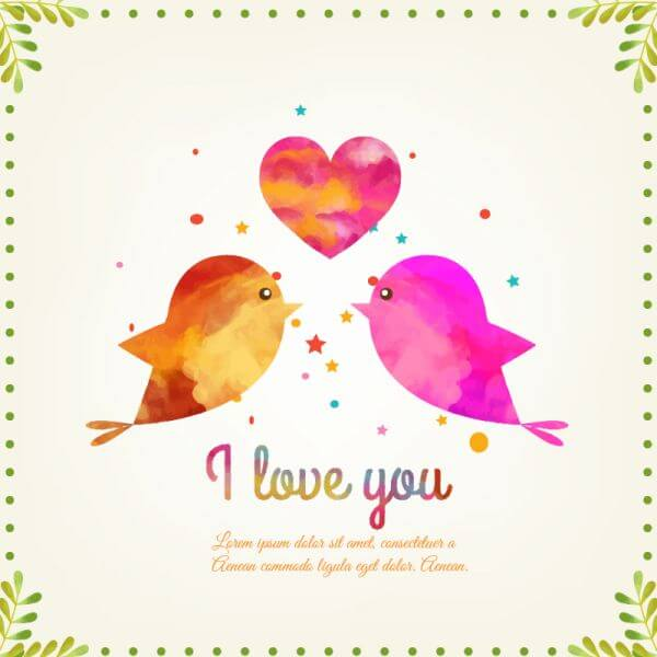 Happy Valentine's Day vector illustration with birds vector