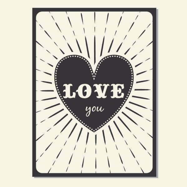 Vintage vector poster with love typography vector