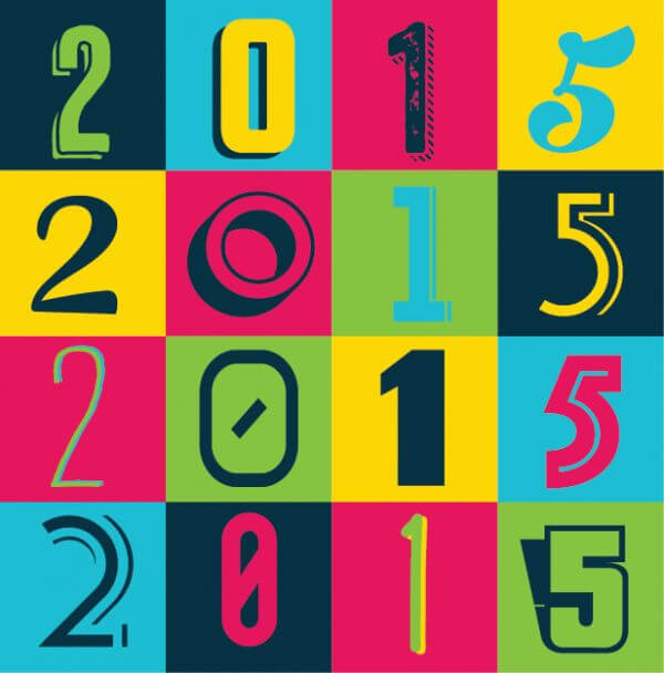 Colorful 2015 New Year Poster Background vector
