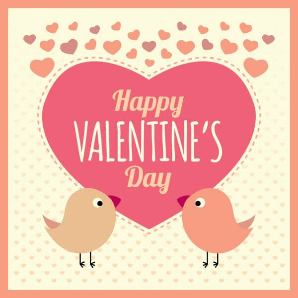 Valentines Card Background with Birds and Text vector