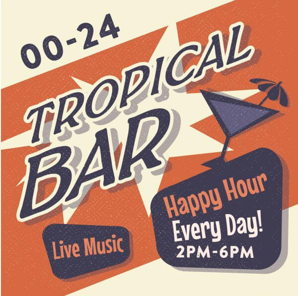 Vintage Tropical Bar poster vector