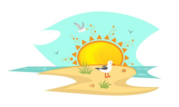 Beach With Seagulls vector